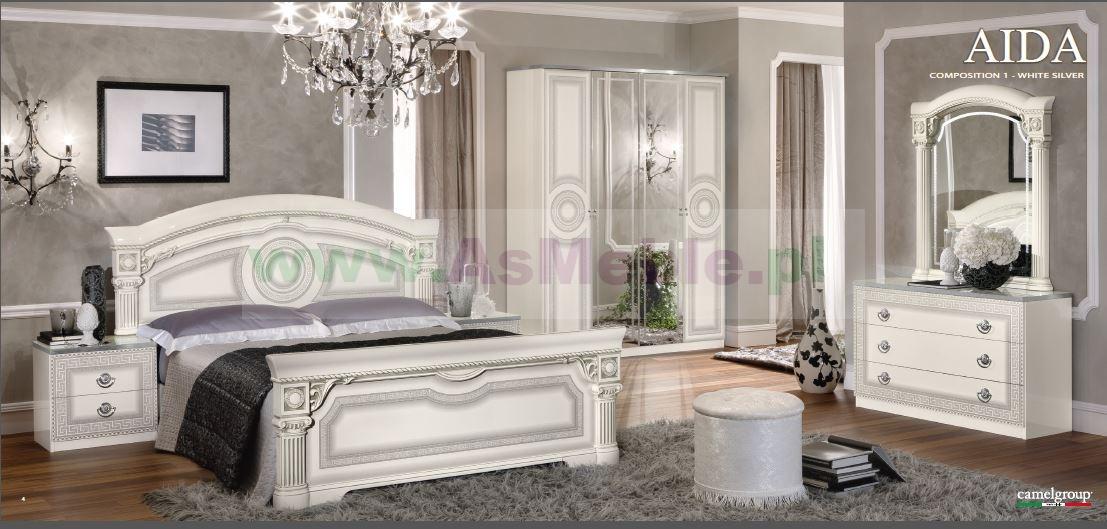 Aida White Silver Meble Do Sypialni Włoska Sypialnia Z