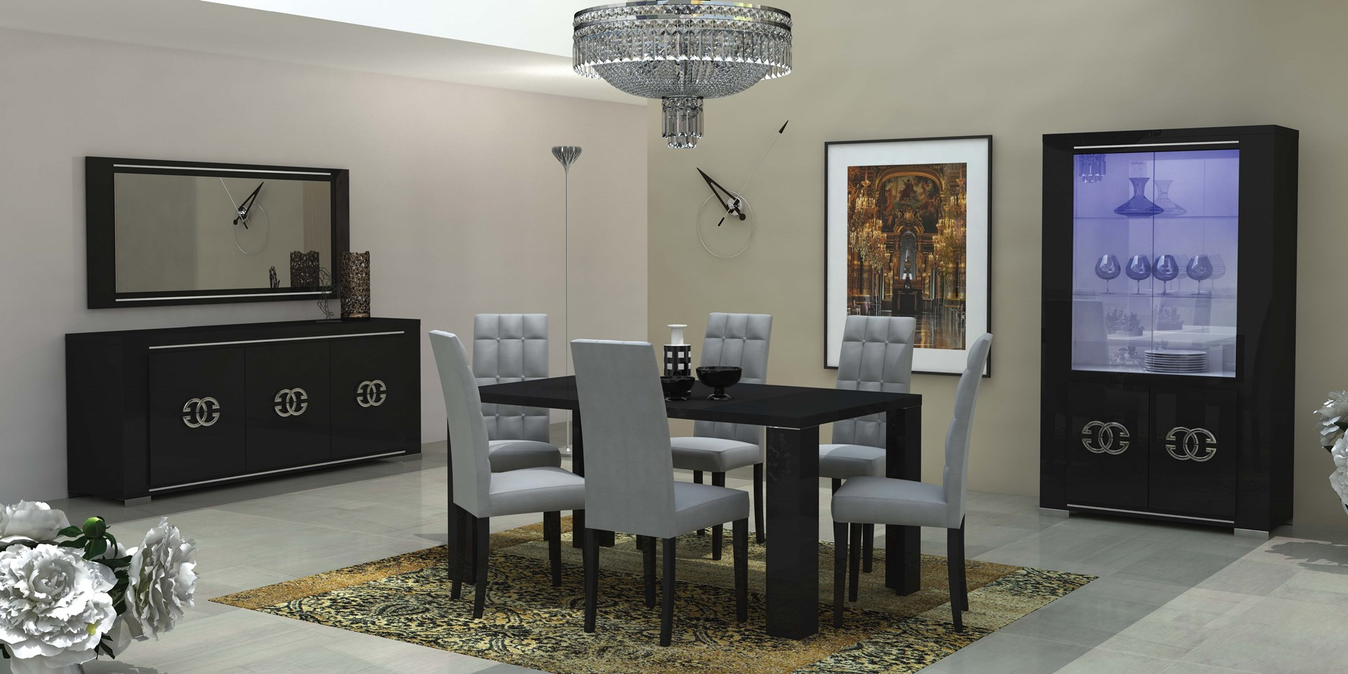 1616a695d683db ARMONIA Luxury - nowoczesna kolekcja mebli do salonu i jadalni czarna  wysoki połysk Meble włoskie sypialnie, meble pokojowe |ASmeble.pl