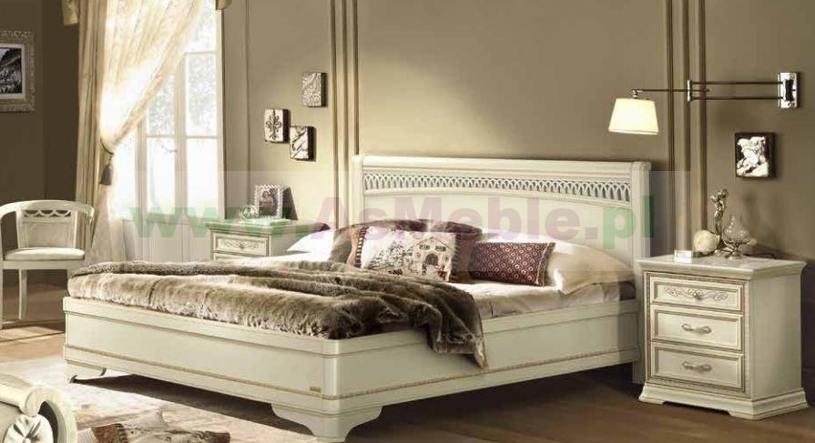 Bezowe łóżko 180x200 Toriani Tiziano Avorio Z Pierścieniem