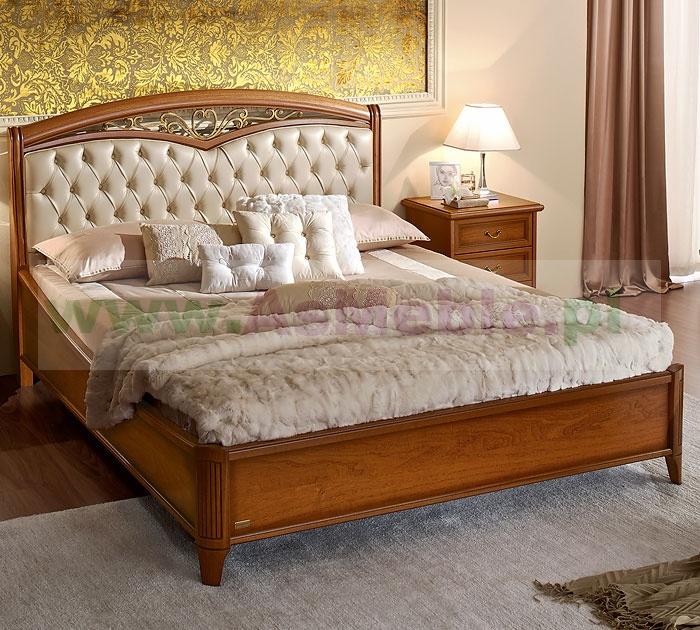 łóżko Nostalgia Orzech Pikowane Z Dekorem 180x200 Z Ringiem