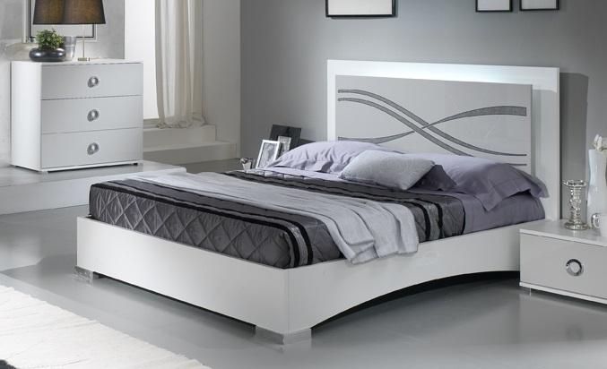 Małżeńskie łóżko 140x200 Karena Włoskie Białe Nowoczesne