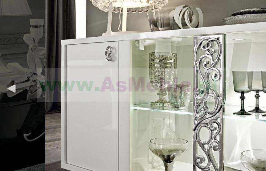 roma bianco glamour bia�a komoda bufetprzeszklony 4d