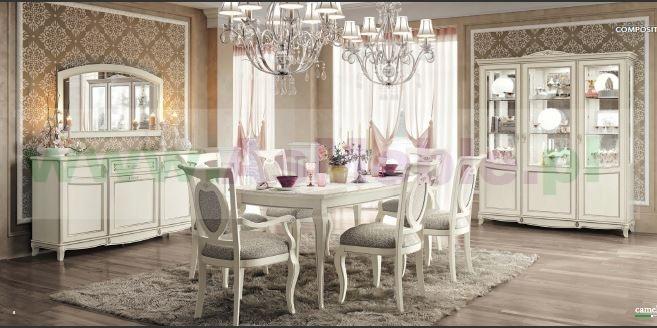W superbly FANTASIA- drewniany biały włoski stylowy komplet do jadalni Meble TP39